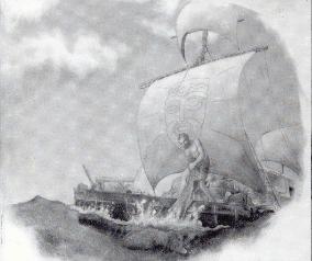 Thor Heyerdahl op het vlot Kon-Tiki
